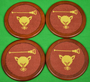 Stacking Set of 4 Myopia Hunt Club Needlepoint Coasters New! (SOLD!)