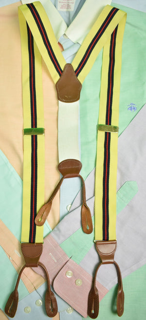 Dooney & Bourke Yellow Grosgrain Repp Stripe Braces