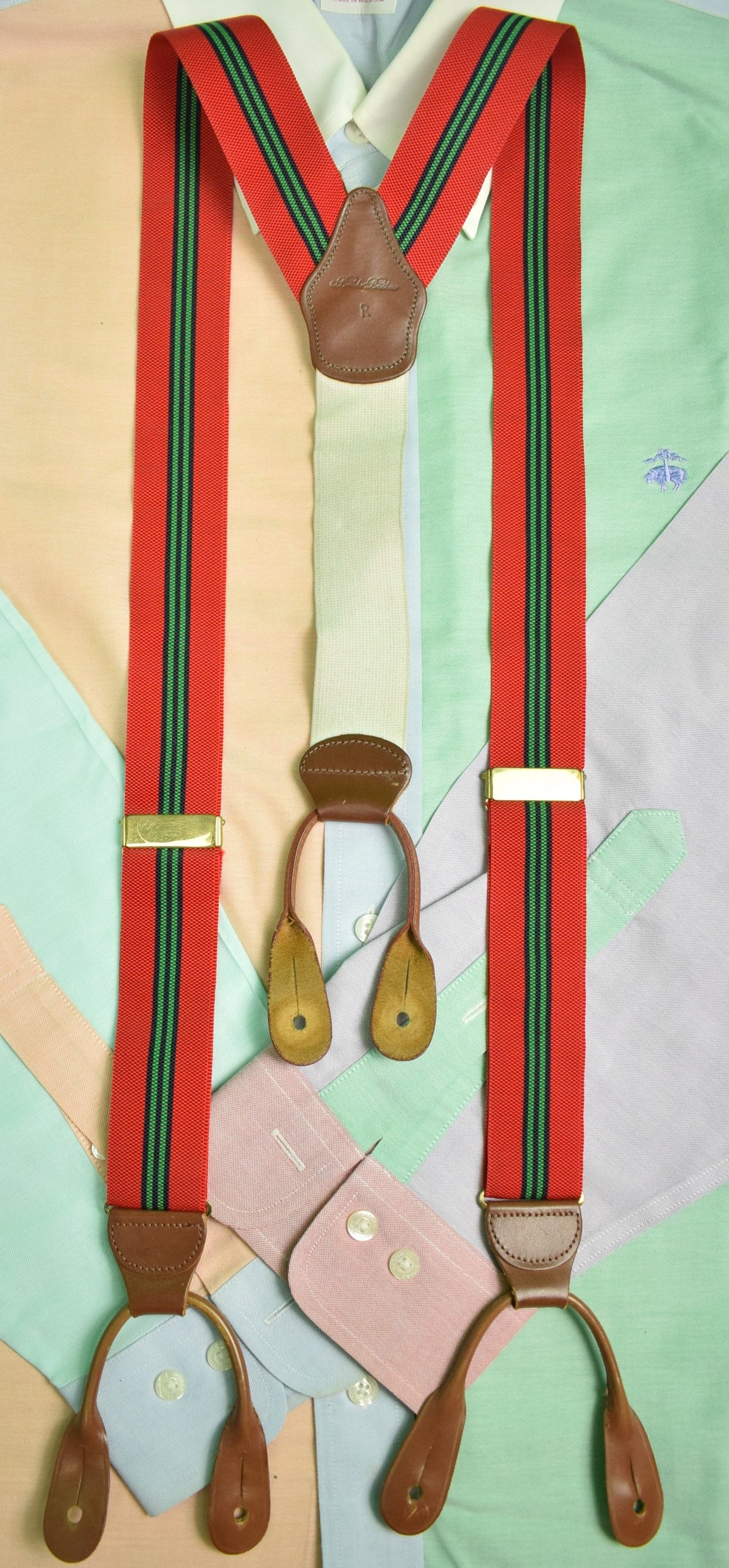Brooks Brothers English Repp Stripe Red/ Green Braces Sz: R