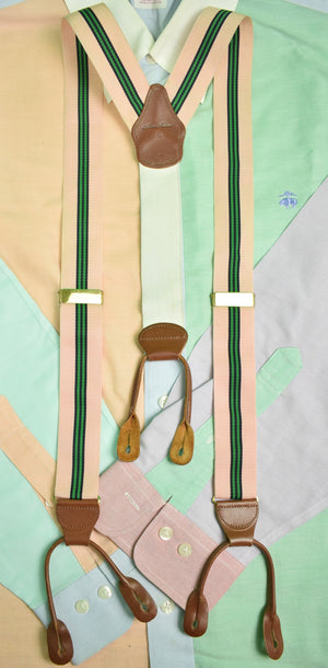 Brooks Brothers Pink & Green Repp Stripe English Braces (Sold!)