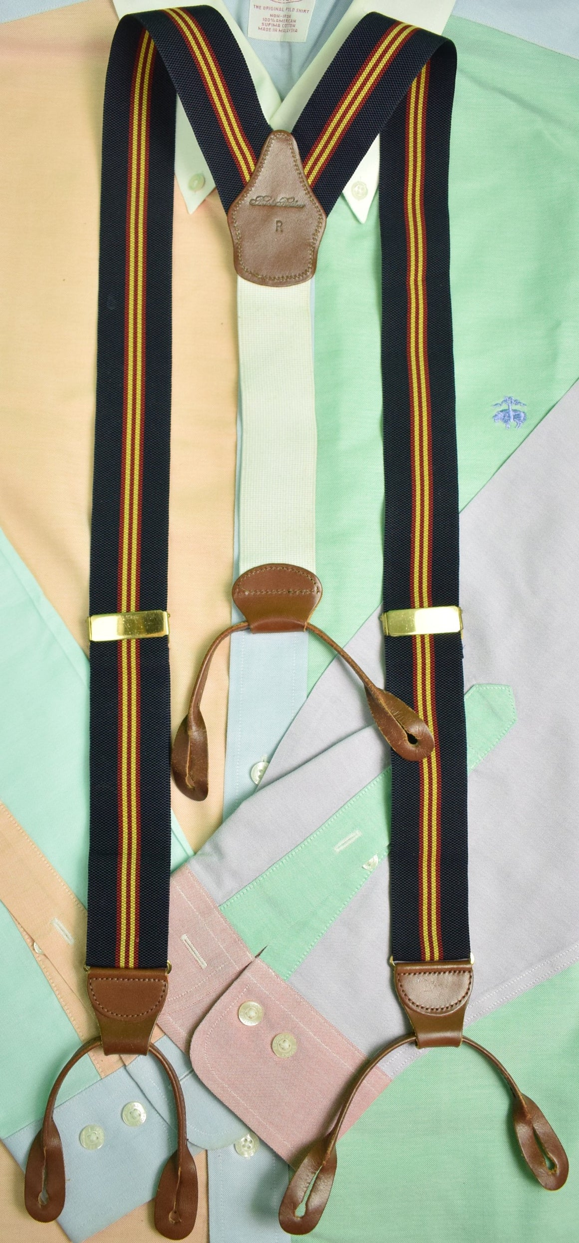 Brooks Brothers Navy/ Gold/ Burg Repp Stripe Braces Sz: R (SOLD!)