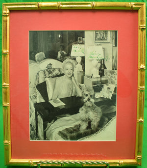 Elsie de Wolfe & Her Poodle, Jacques 1949 B&W Photo in Gilt Bamboo Frame
