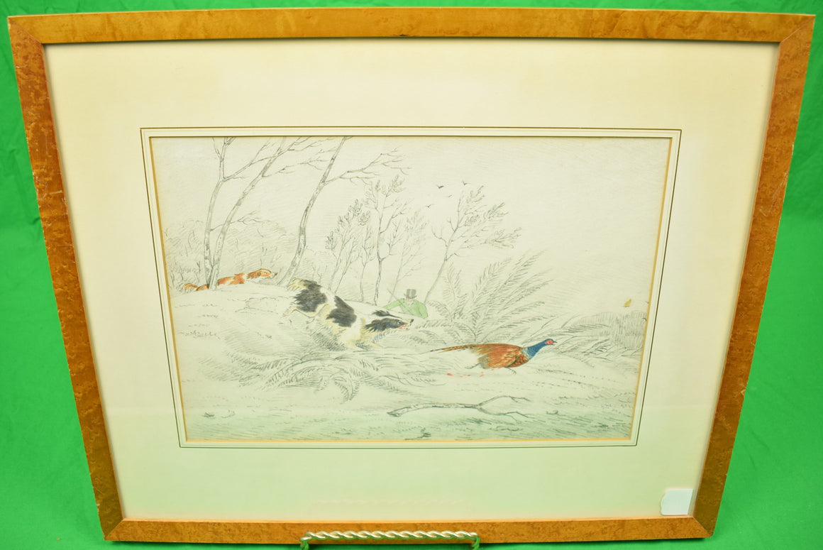 """Huntsman w/ Two Game Dogs Pheasant Shooting"" Drawing w/ Watercolour by Henry Alken"