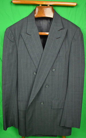 "The Andover Shop Med-Grey Trop Weight Chalk Stripe (3x1) DB Suit Sz 40L x 33""W"