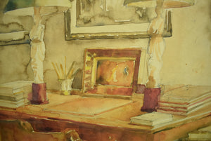 'Library Salon Interior' Watercolour by Allen Townsend Terrell