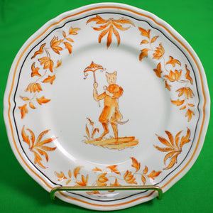Pair of Chinoiserie 'Cats' Olerys France Hand-Painted Plates