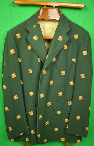 Chipp Hunter Green Embroidered Tennis Rackets Doeskin Flannel Blazer Sz: 44