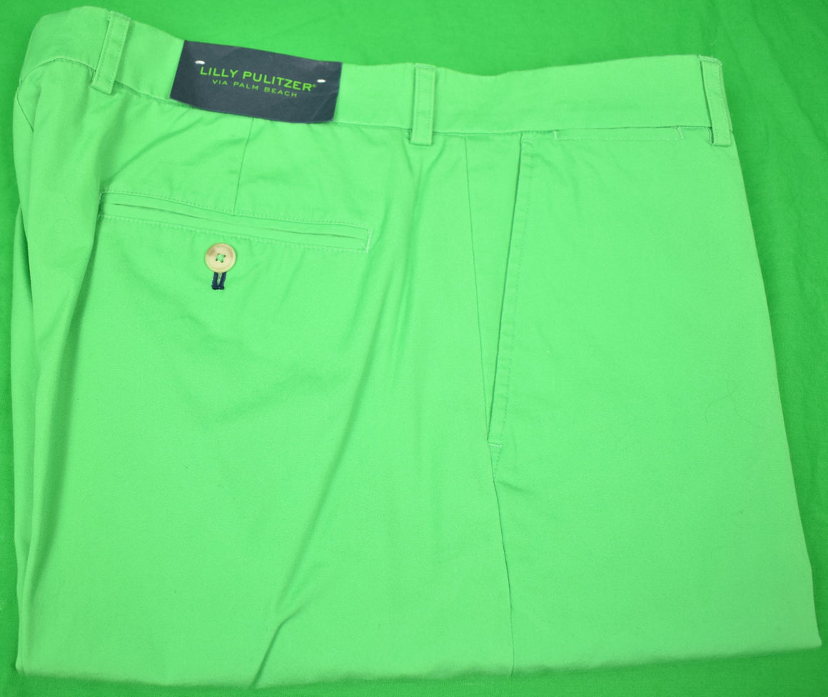 "Lilly Pulitzer Palm Leaf Green Poplin Trousers Sz: 36""W New w/ Tag!"
