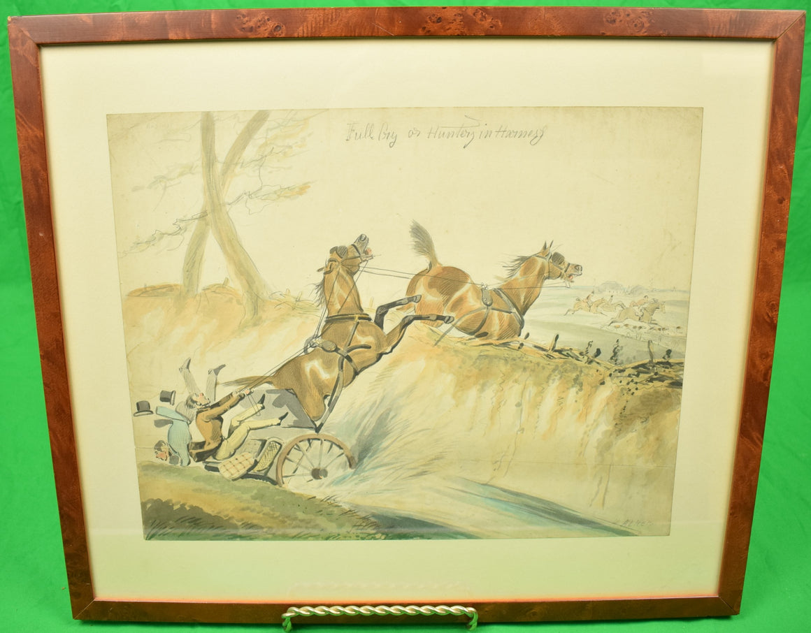 """Full Cry or Hunters and Harness"" 19th C Watercolour by Henry Alken"