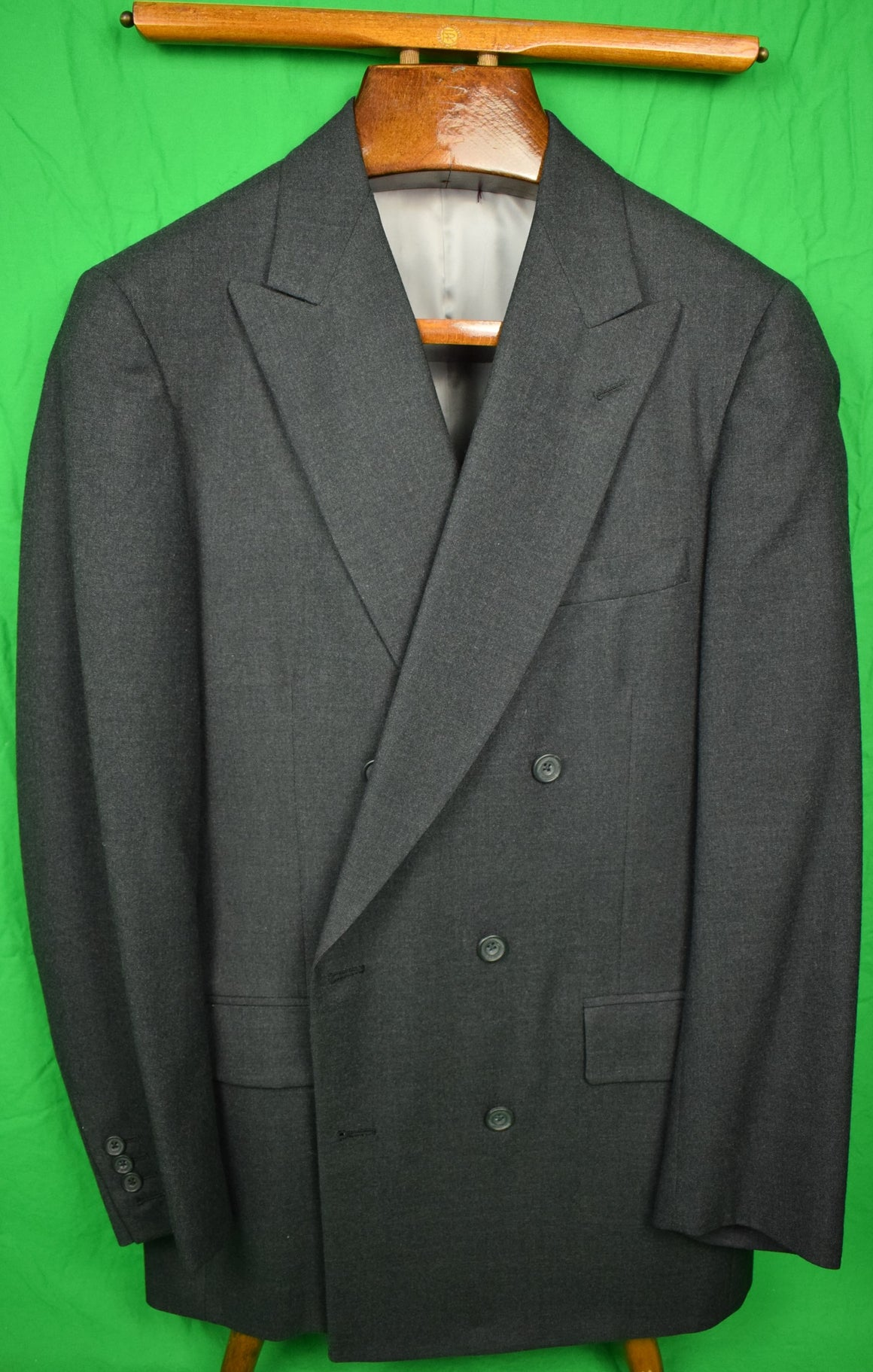 "Paul Stuart Char Gray Flannel DB Suit Sz: 40L x 33""W"