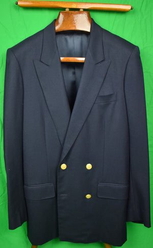 Princeton Tailors of Hong Kong Flannel DB Navy Blazer Sz 38L