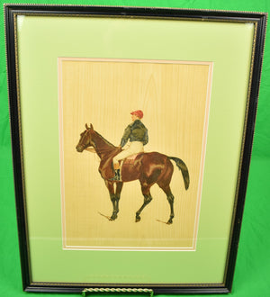 French Jockey w/ Black Silks & Red Cap Hand-Colour Litho