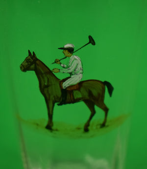 Set of (11) Hand-Painted c1920s Polo Player Highball Glasses
