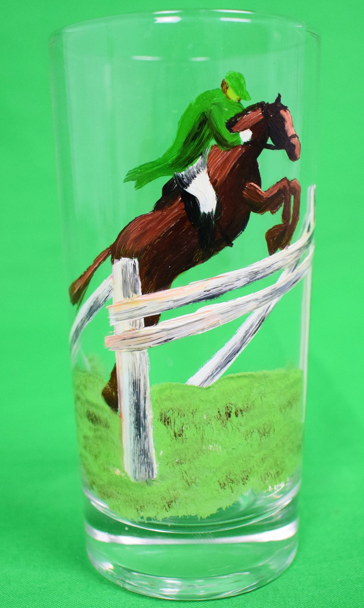 Set of 6 Steeplechase Hand-Painted Glasses