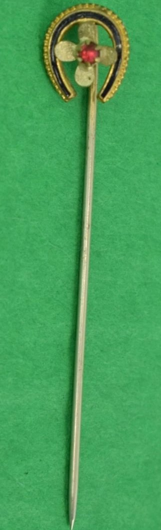Gold Victorian Horse Shoe Stick Pin w Ruby (4) Leaf Center