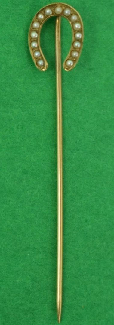 (15) Pearl HorseShoe Gold Victorian Stick Pin