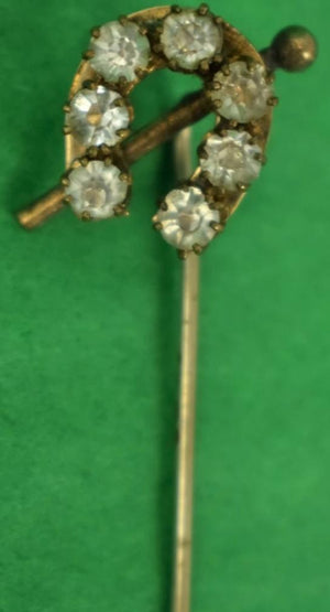 (7) Diamond Embedded HorseShoe Victorian Gold Stick Pin