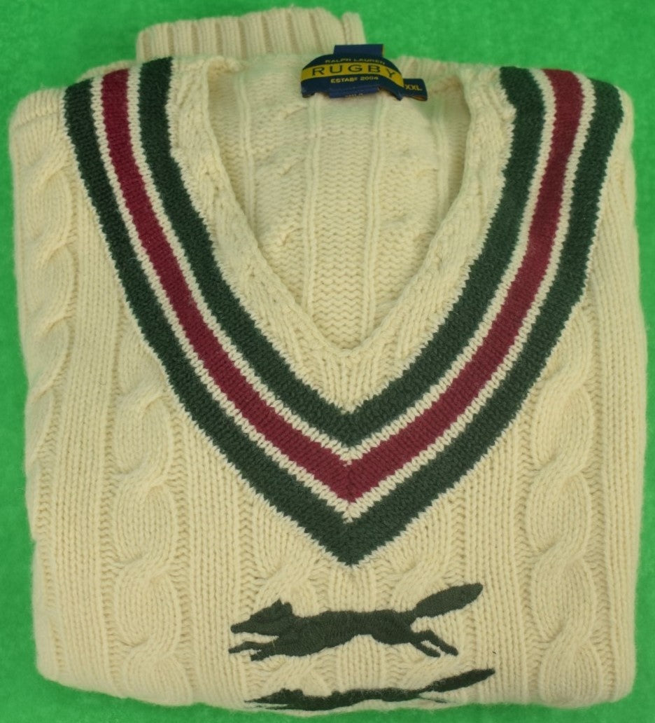 Rugby Ralph Lauren 'Leaping Fox' Tennis Cable Sweater Sz XXL New w/o Tags!