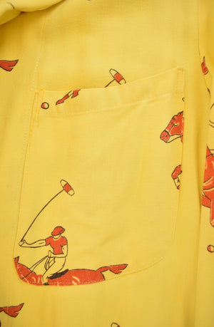 """Gent's Yellow Cotton Robe w Red Polo Players"" Sz: M"