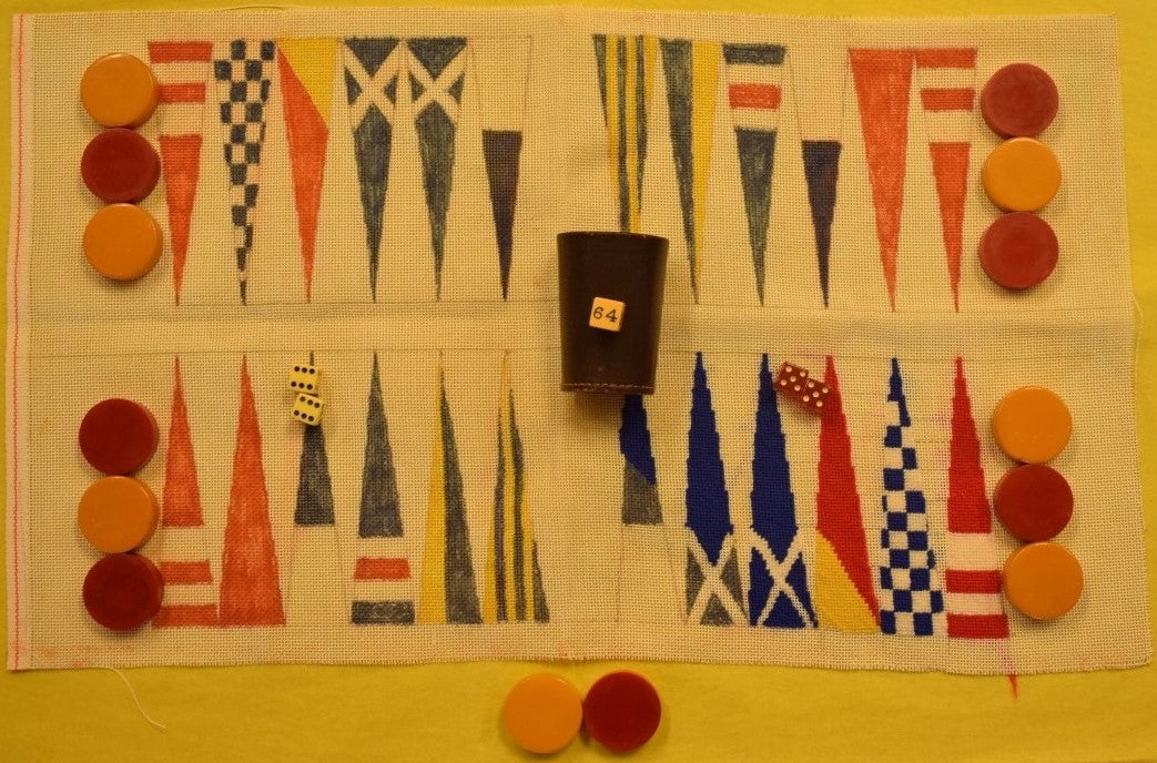 Private Yacht Club Needlepoint 'Burgee Flags' Backgammon c1960s Gaming Set'