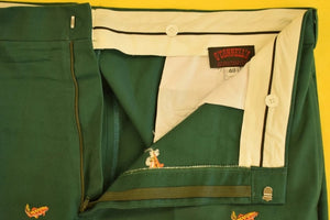 "O'Connell's 'Trout Flies' Emb Hunter Green Chinos"" Sz: 40""W"