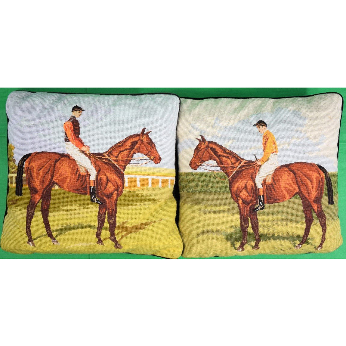 'Pair of Petit-Point English Jockey Needlepoint Pillows'