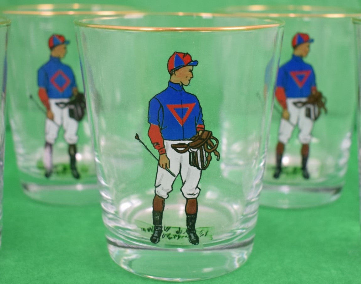Set of 8 Hand-Painted Jockey Old-Fashioned Glasses