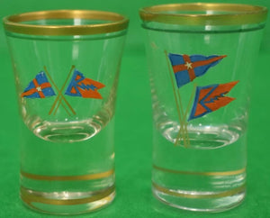 Set of (49) Private/ New York Yacht Club c1930s Hand-Painted Glassware Collection (SOLD)