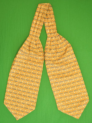 Yellow Silk Cravat w White Geese & Lt Blue Flowers