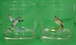 Set of (6) Orvis/ Ned Smith Hand-Painted 'Waterfowl' Old-Fashioned Bar Glasses