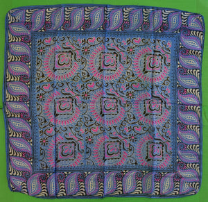 Indian Batik Royal Blue & Fuschia Silk Scarf