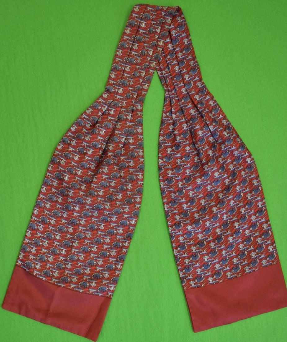 Hermes of Paris Burgundy Cravat w Slate Blue Bunny Rabbits