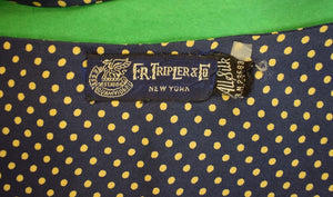 F. R. Tripler & Co. Navy and Gold Pin Dot Silk Ascot