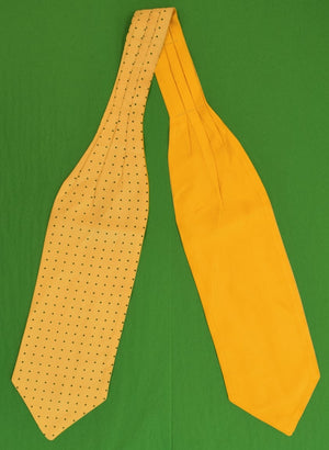 Yellow w Green Pindots Reversible Silk Ascot