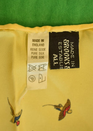 Brooks Brothers Yellow English Silk Pocket Sq w Pheasant Gamebird Print
