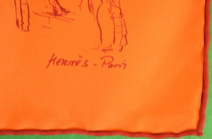 Hermes of Paris Orange Silk Jockeys 'Croquis Champs de Courses' Pocket Sq/ Pochette