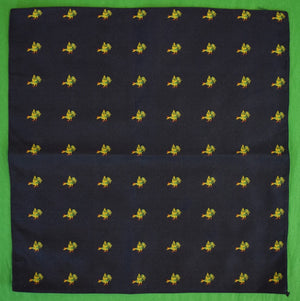 Navy English Silk Twill Pocket Sq w Woven Birds
