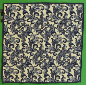 Italian Cotton Navy & White Paisley Pocket Sq