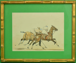 'Two Polo Players' c.1930's Watercolor by Paul Desmond Brown (1893-1958)