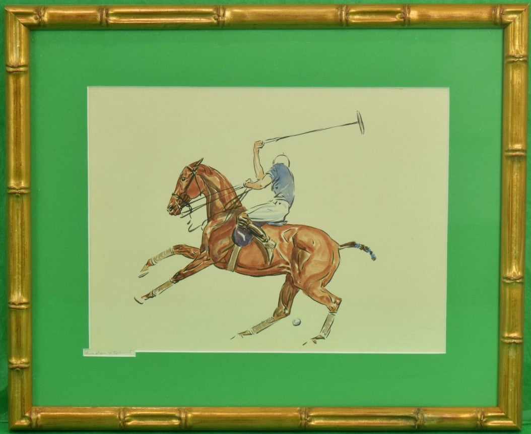 'Polo Player' c.1930's Watercolor by Paul Desmond Brown (1893-1958)