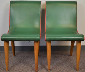 Fab Pair of Gucci Red & Green Upholstered Palm Beach Salon Side Chairs