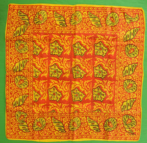Ladies Scarlet & Gold Indian Batik Silk  Scarf
