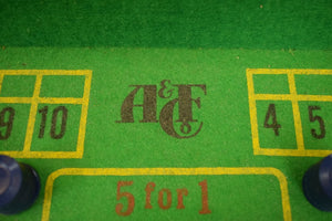 Vintage Abercrombie & Fitch Craps Boxed Table Set w Leather Dice Cup/ (100) Chips & Croupier Stick in the Original Box