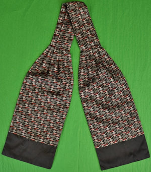 Gent's Hermes of Paris Black & Red Silk Ascot w Gray Rabbits