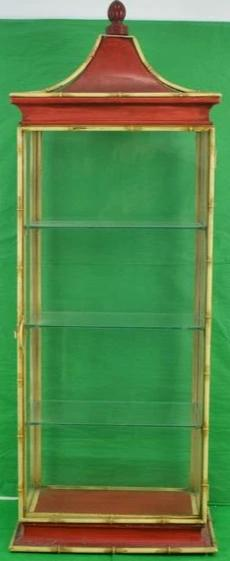 Chinoiserie 3 Shelf Glass & Metal Bamboo Frame Pagoda c.1950's Vitrine
