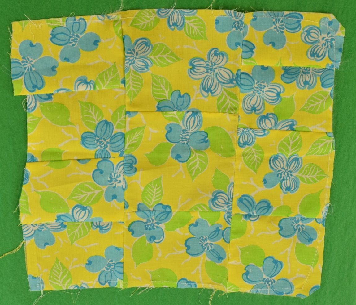 Lilly Pulitzer Yellow Pocket Sq w Blue & Green Floral Print