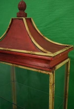 'Fab Chinoiserie 3 Shelf Glass & Metal 'Bamboo' Frame Pagoda c.1950's Vitrine'