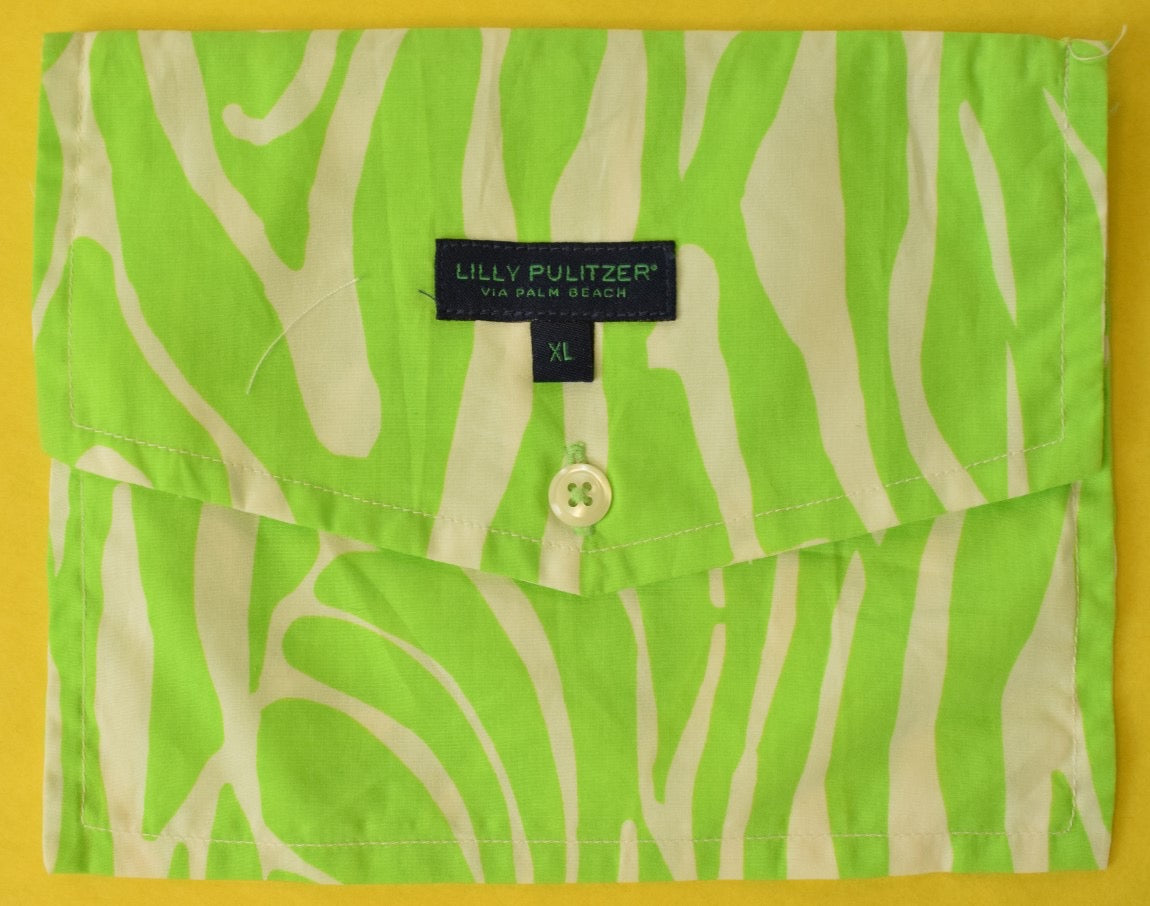 Lilly Pulitzer Lime Green Men's Pocket Sq/ Sunglass Case