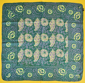 Ladies' Green & Lavender Batik Floral Silk Scarf