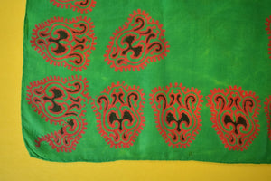 Indian Batik Emerald Silk Pocket Sq
